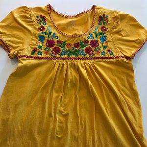 Yellow Floral Embroidered Blouse